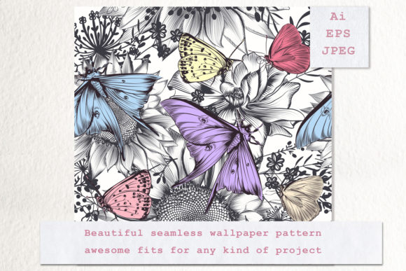Seamless Vector Pattern with Butterflies Graphic Patterns By fleurartmariia - Image 2