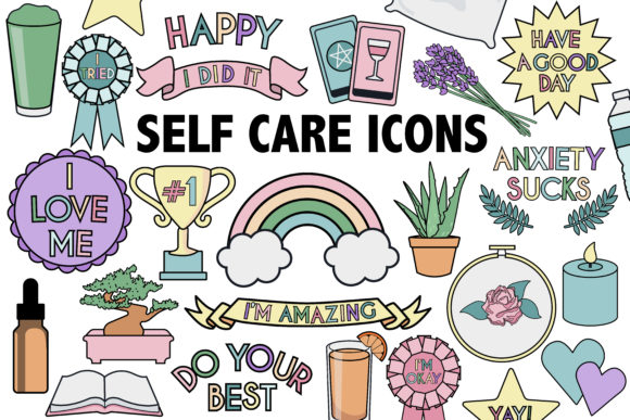 Print on Demand: Self Care Icons Graphic Illustrations By Mine Eyes Design