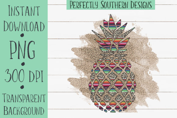 Print on Demand: Serape & Cheetah Pineapple Graphic Crafts By PerfectlySouthernDesigns