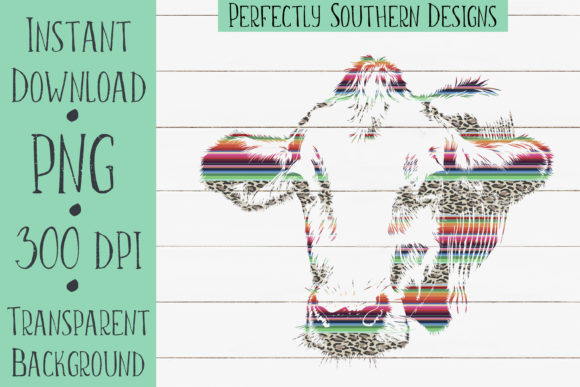 Print on Demand: Serape Cow Graphic Crafts By PerfectlySouthernDesigns