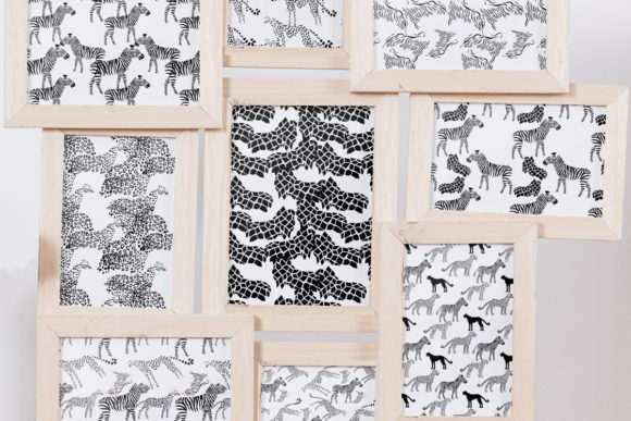 Set Seamless Pattern with Animals