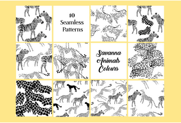Print on Demand: Set Seamless Pattern with Animals Graphic Patterns By natalia.piacheva