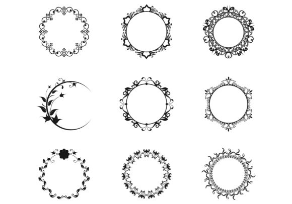 Set Of Circle Frames Wreaths For Design Graphic By Deemka