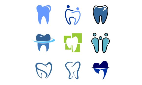 Download Free Set Of Dental Tooth Dentist Logo Graphic By 2qnah Creative for Cricut Explore, Silhouette and other cutting machines.