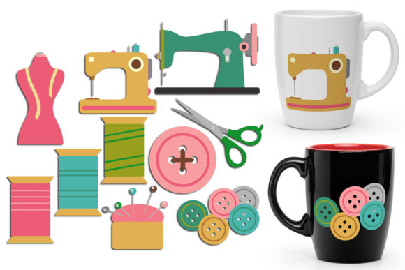 Print on Demand: Sewing Machines and Supplies Graphic Illustrations By Revidevi