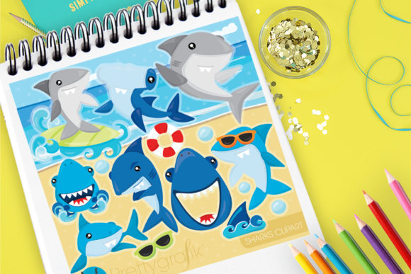 Print on Demand: Sharks Clipart Graphic Illustrations By Prettygrafik