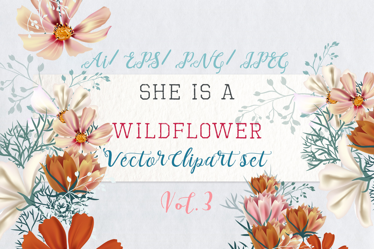 Download Free She Is Wildflower Vector Clip Art Set 3 Graphic By for Cricut Explore, Silhouette and other cutting machines.