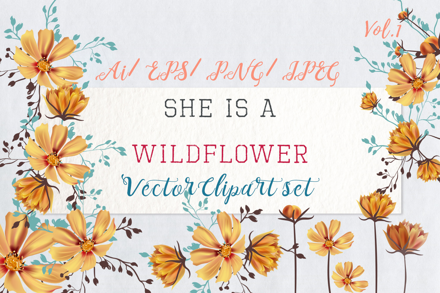 Download Free She Is Wildflower Vector Clip Art Set Graphic By Fleurartmariia for Cricut Explore, Silhouette and other cutting machines.