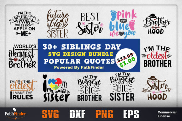 Print on Demand: Sibling's Day SVG Design Bundle Graphic Crafts By Pathfinder