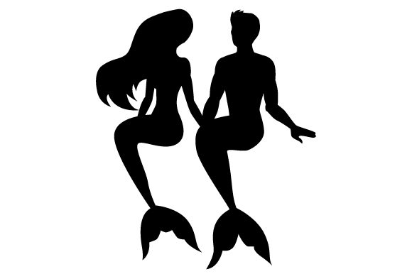 Download Free Silhouettes Of A Mermaid And A Merman Sitting Together Svg Cut for Cricut Explore, Silhouette and other cutting machines.