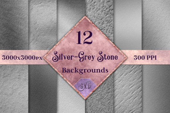 Print on Demand: Silver-Grey Stone Backgrounds Graphic Backgrounds By SapphireXDesigns