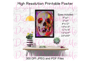 Skull Poster Colorful Many Sizes Art Graphic By DigitalPrintableMe