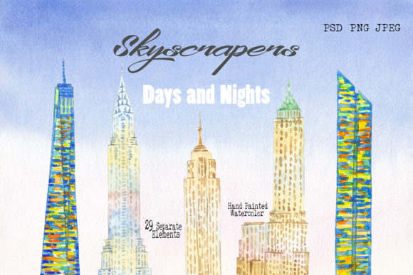 Print on Demand: Skyscrapers. Days and Nights Clipart Graphic Illustrations By natalia.piacheva