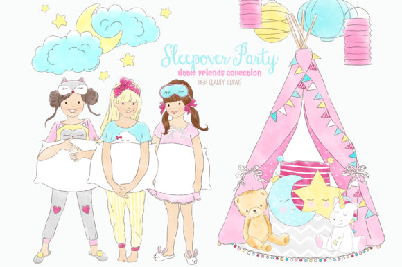 Slumber Sleepover Pajama Party Clip Art Graphic Illustrations By kabankova