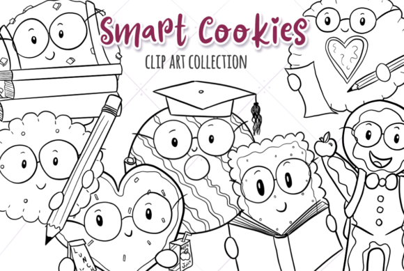 Download Free Smart Cookies Black And White Graphic By Keepinitkawaiidesign for Cricut Explore, Silhouette and other cutting machines.