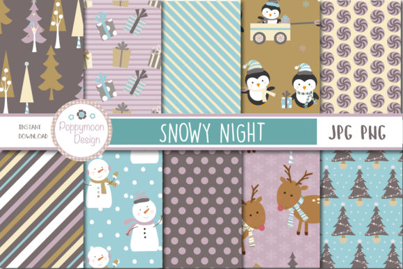 Print on Demand: Snowy Night Papers Gráfico Moldes Por poppymoondesign