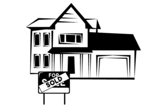 Sold Sign in Front of Two Story Home Zuhause Plotterdatei von Creative Fabrica Crafts