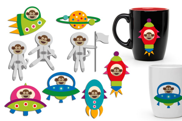 Print on Demand: Space Monkeys Graphic Illustrations By Revidevi