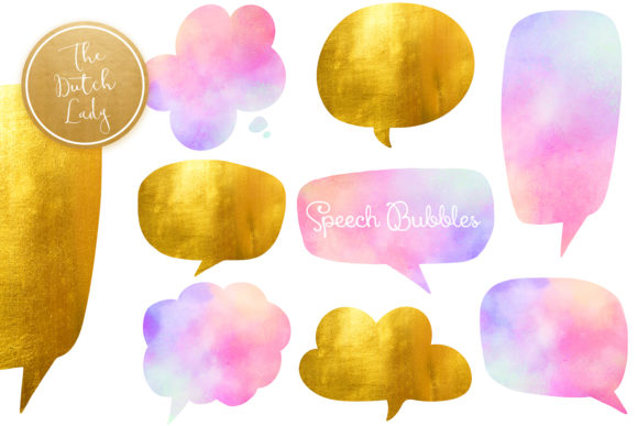 Print on Demand: Speech Bubble Clipart Set Graphic Crafts By daphnepopuliers - Image 1