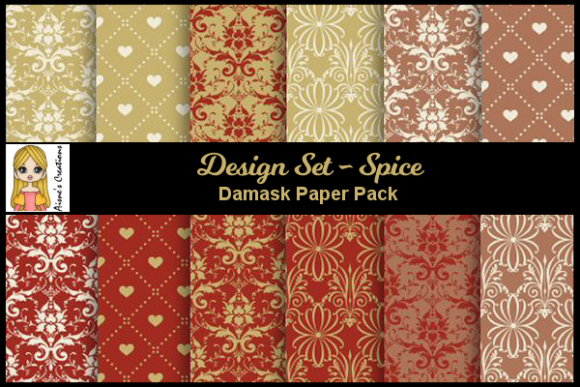 Download Free Spice Damask Paper Pack Graphic By Aisne Creative Fabrica for Cricut Explore, Silhouette and other cutting machines.