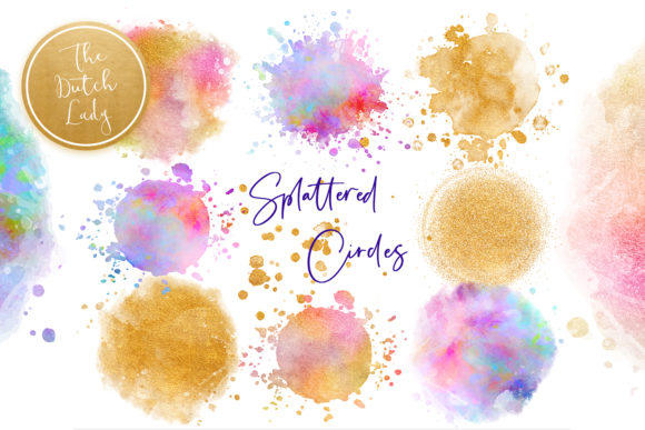 Print on Demand: Splattered Circle Clipart Set Graphic Crafts By daphnepopuliers