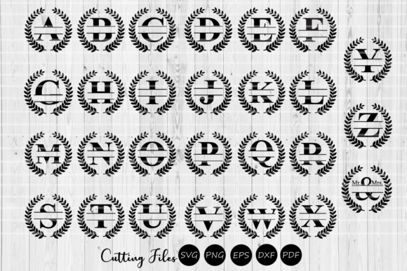 Download Free Split Letters Wreath Monogram Alphabet Graphic By Hd Art for Cricut Explore, Silhouette and other cutting machines.