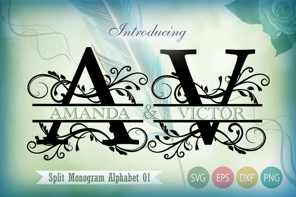 Download Free Split Monogram Alphabet 01 Graphic By Gleenart Graphic Design for Cricut Explore, Silhouette and other cutting machines.