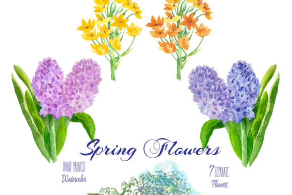 Download Free Spring Flowers Watercolor Clipart Graphic By Natalia Piacheva for Cricut Explore, Silhouette and other cutting machines.