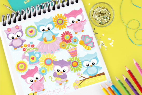 Print on Demand: Spring Owls Graphic Illustrations By Prettygrafik