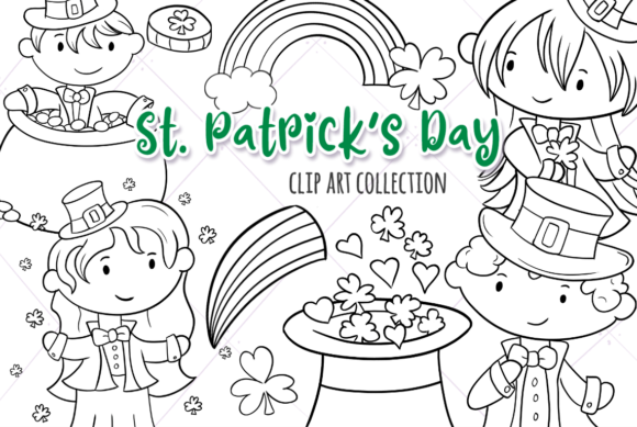 Print on Demand: St Patrick's Day (Black and White) Graphic Illustrations By Keepinitkawaiidesign