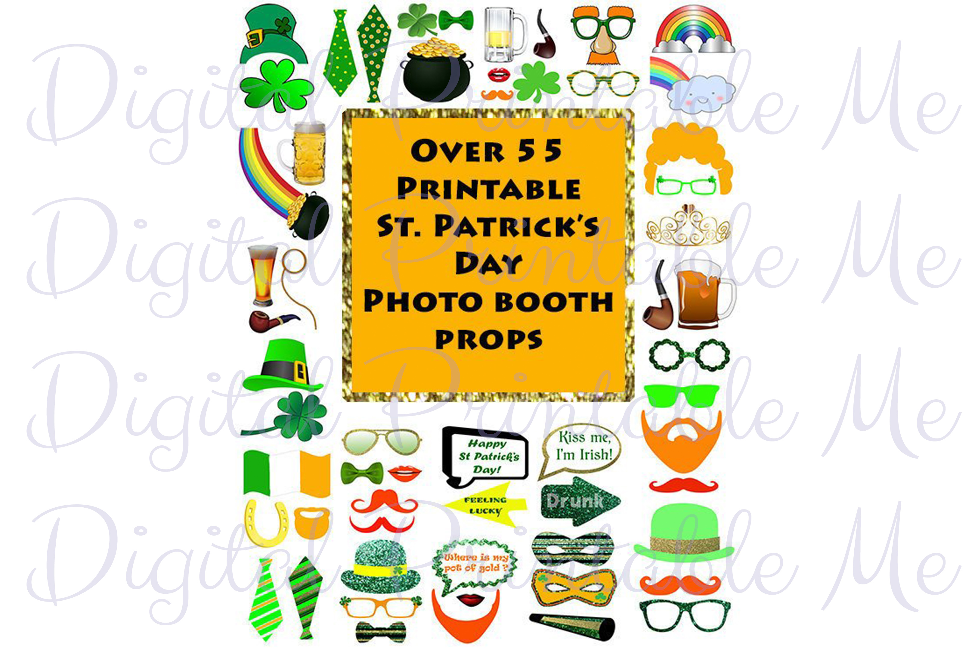 Download Free St Patrick S Day Photo Booth Props Set Graphic By for Cricut Explore, Silhouette and other cutting machines.