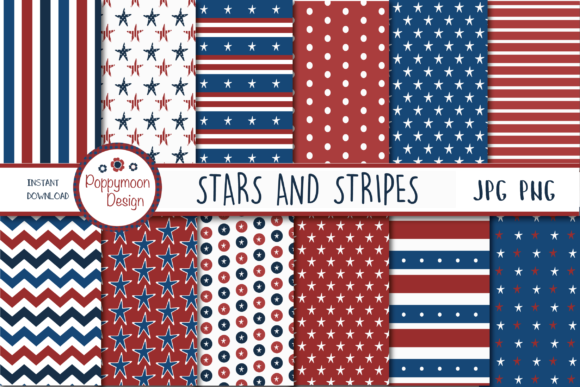 Download Free Stars And Stripes Paper Graphic By Poppymoondesign Creative for Cricut Explore, Silhouette and other cutting machines.