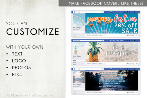 Print on Demand: Summer Beach Vacation Facebook Cover Set Graphic Graphic Templates By Pixel Berry Pie Designs - Image 3