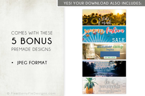 Print on Demand: Summer Beach Vacation Facebook Cover Set Graphic Graphic Templates By Pixel Berry Pie Designs - Image 4