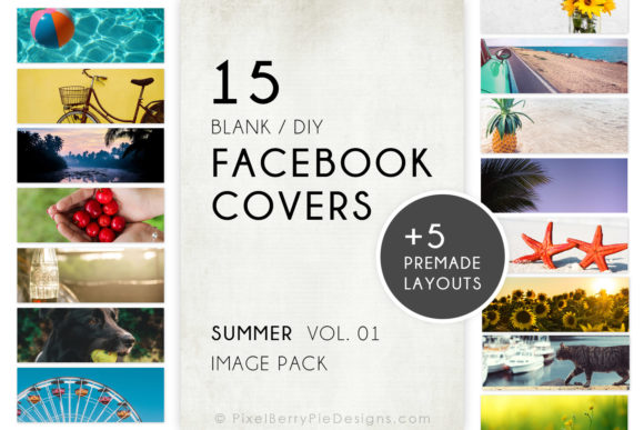 Print on Demand: Summer Beach Vacation Facebook Cover Set Graphic Graphic Templates By Pixel Berry Pie Designs