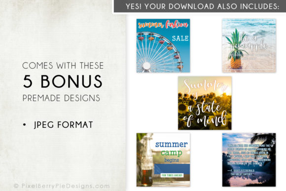 Print on Demand: Summer Beach Vacation Instagram Photos Graphic Graphic Templates By Pixel Berry Pie Designs - Image 4