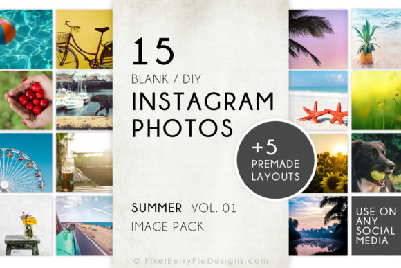 Print on Demand: Summer Beach Vacation Instagram Photos Graphic Graphic Templates By Pixel Berry Pie Designs - Image 1