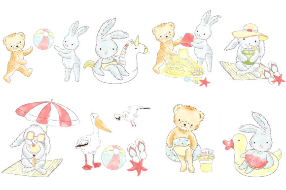 Download Free Summer Beach Animals Watercolor Clipart Graphic By Kabankova for Cricut Explore, Silhouette and other cutting machines.