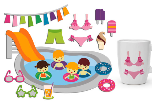 Print on Demand: Summer Pool Party Graphic Illustrations By Revidevi