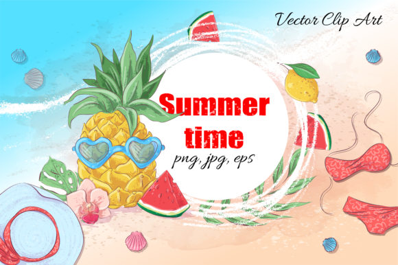 Print on Demand: Summer Time Vector Clip Art Graphic Illustrations By nicjulia