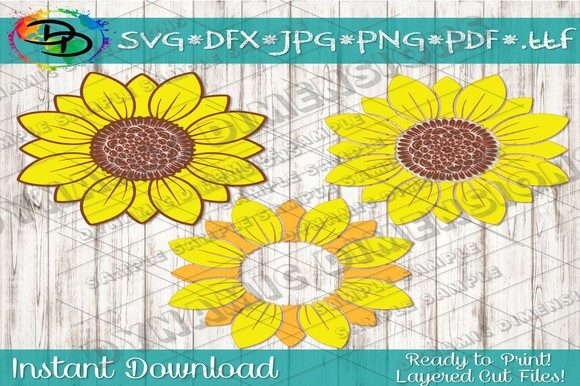 Download Free Sunflower Monogram Graphic By Dynamicdimensions Creative Fabrica for Cricut Explore, Silhouette and other cutting machines.