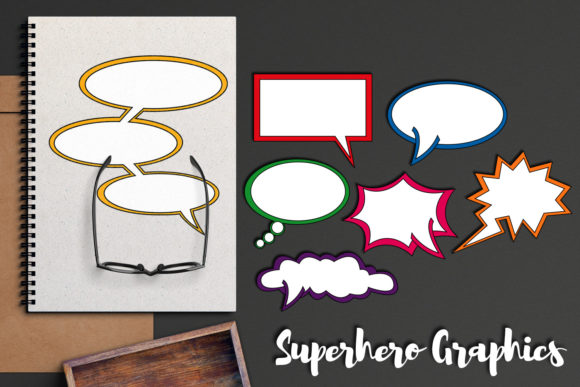 Print on Demand: Superhero Comic Talk Bubble Graphic Illustrations By Revidevi