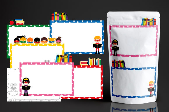 Print on Demand: Superhero Page Borders Graphic Illustrations By Revidevi