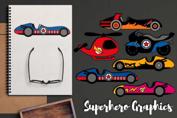 Print on Demand: Superhero Transportation Graphic Illustrations By Revidevi