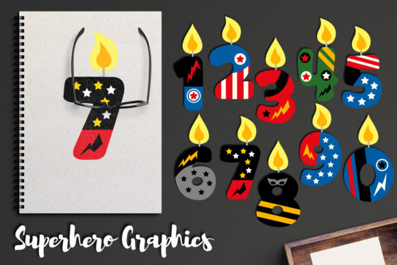 Print on Demand: Superhero Birthday Candles Graphic Illustrations By Revidevi