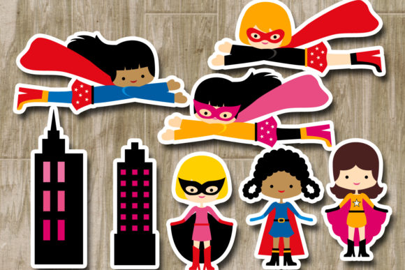 Download Free Superhero Girls Graphic By Revidevi Creative Fabrica for Cricut Explore, Silhouette and other cutting machines.