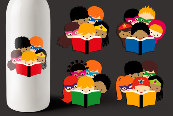 Print on Demand: Superheroes Read a Book Graphic Illustrations By Revidevi