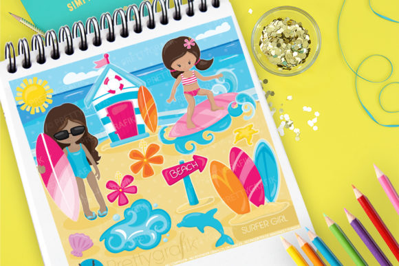 Print on Demand: Surfer Girl Graphic Illustrations By Prettygrafik