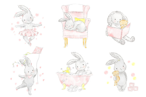 Download Free Sweet Pink Bunny Girl Watercolor Clipart Graphic By Kabankova for Cricut Explore, Silhouette and other cutting machines.