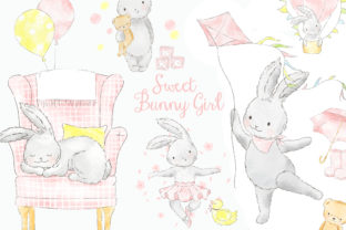 Sweet Pink Bunny Girl Watercolor Clipart Graphic Illustrations By kabankova